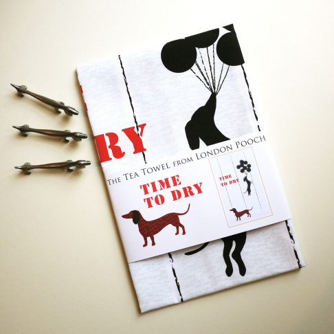 Banksy Style Dachsy Tea Towel when it is Time to Dry
