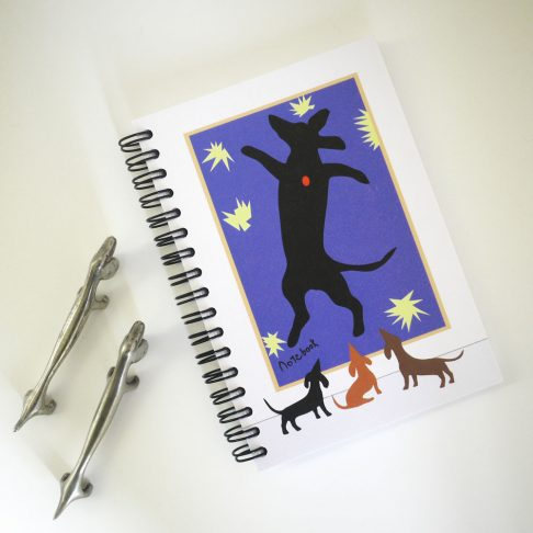 A Dachshund view of this well loved art piece on the cover of our Matisse Notebook