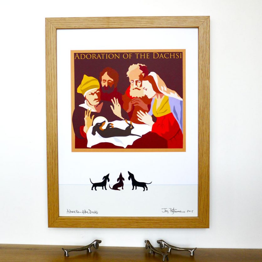 Adoration Print pays humorous homage to art seen through the eyes of the Dachshund.