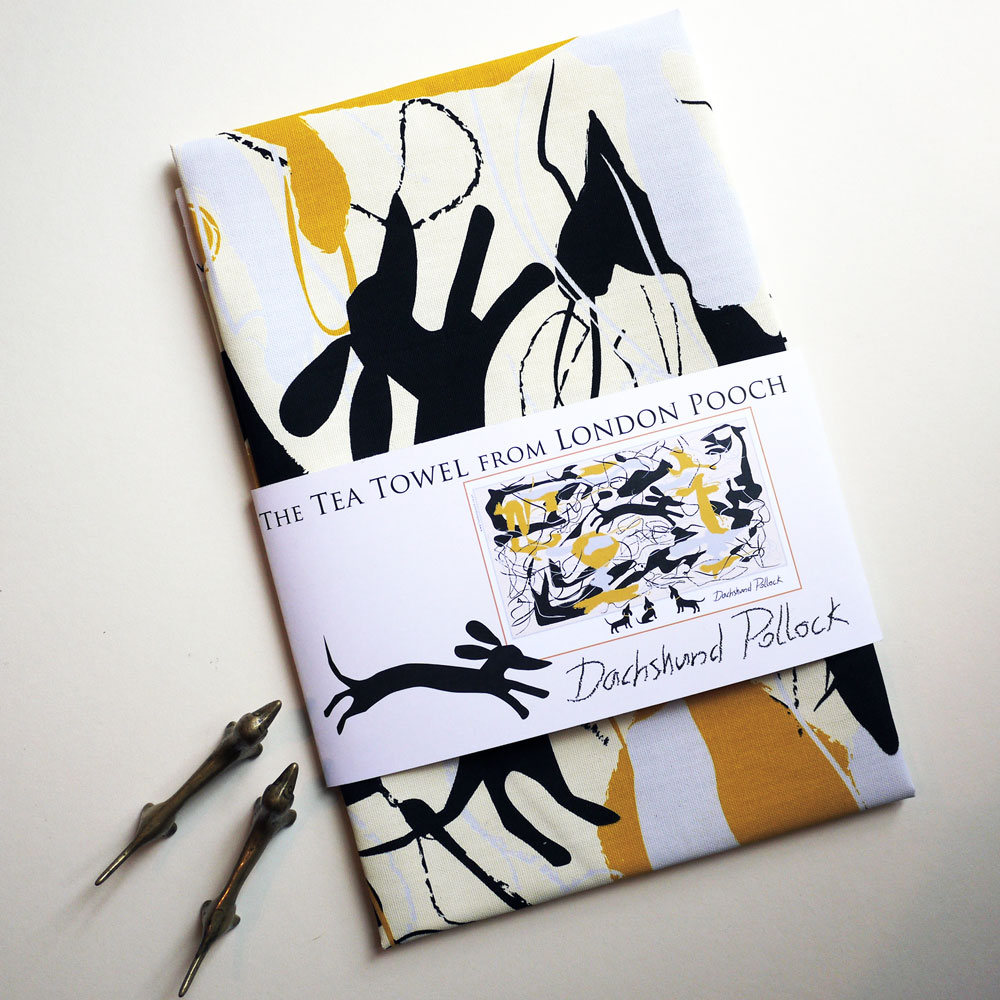 Witty look at Abstract Art is the theme on our Dachshund Tea Towel titled Dachshund Pollock