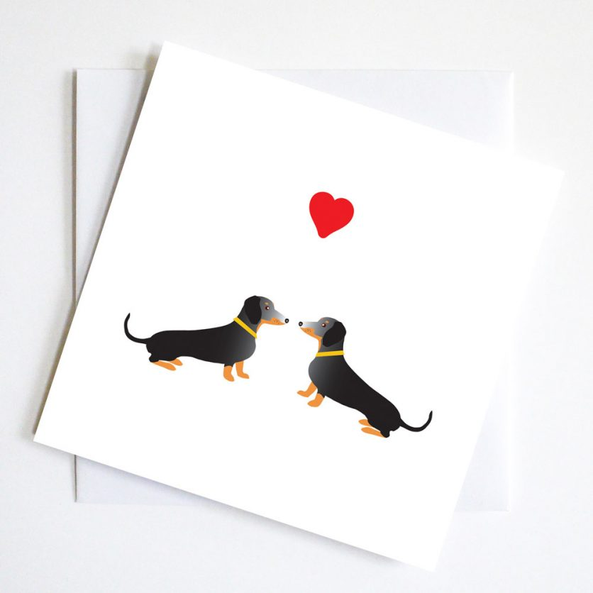 Two Dachshund Valentine Card