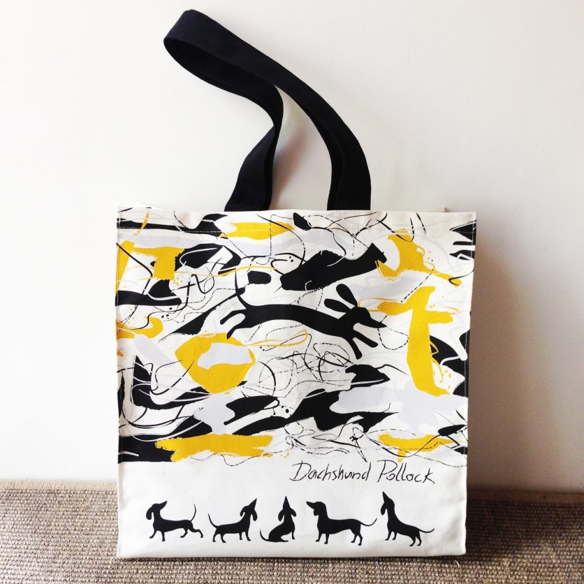 Dachshund Themed Tote Bag features a dachshund weaving within this well punned abstract painting.