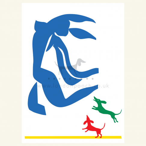 Matisse style Dachshund Print with blue nude chased after by two small dachshunds