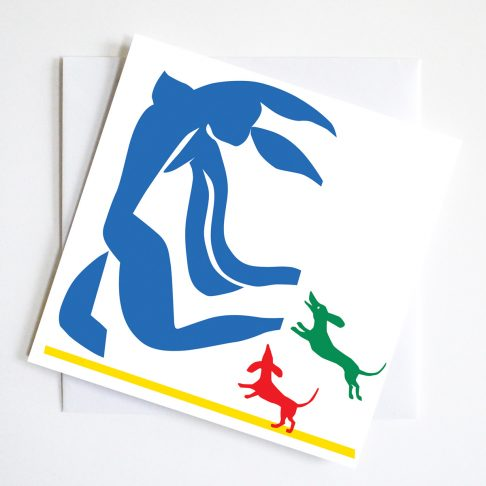 Gift Cardshowing two dachshunds literally After Matisse or rather chasing his blue nude