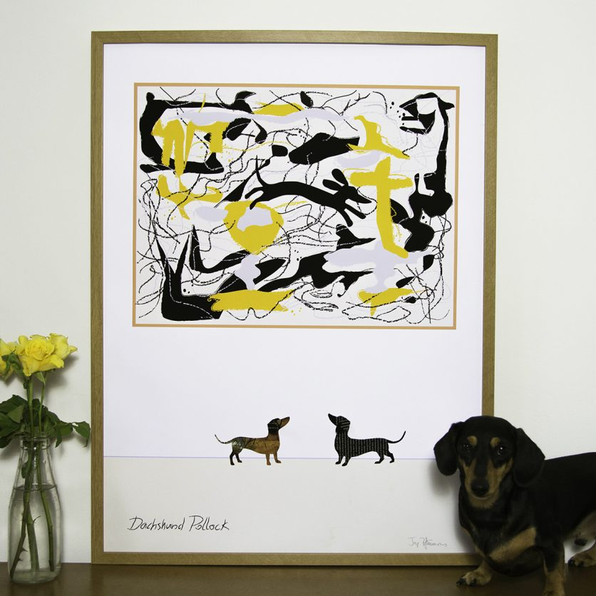 Dachshund Pollock Large Print and doting dachshund pay homage to the artist in a witty version of this well loved black and yellow swirl of brushstrokes.
