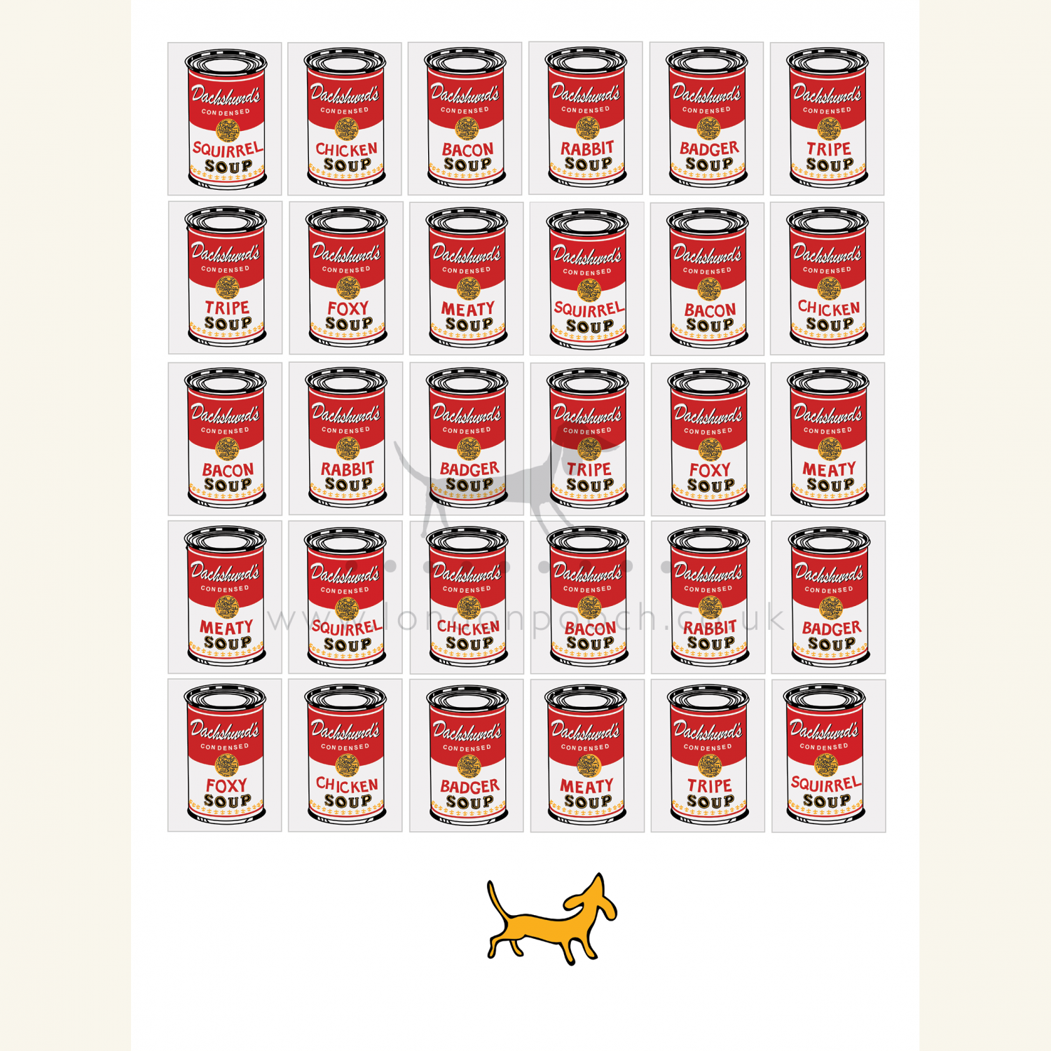 Dachshund Soup Print is a parody on Warhols Soup can art with a Dachshund preference