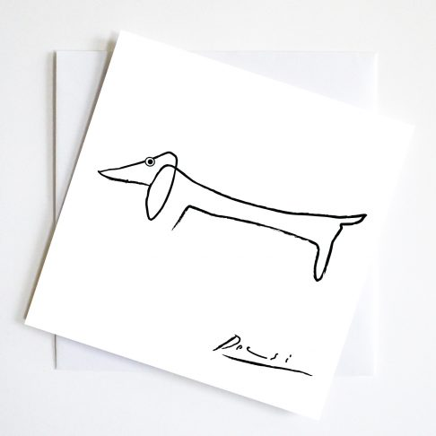 Picasso's iconic dachshund drawing with a spot of goggle eyed humour