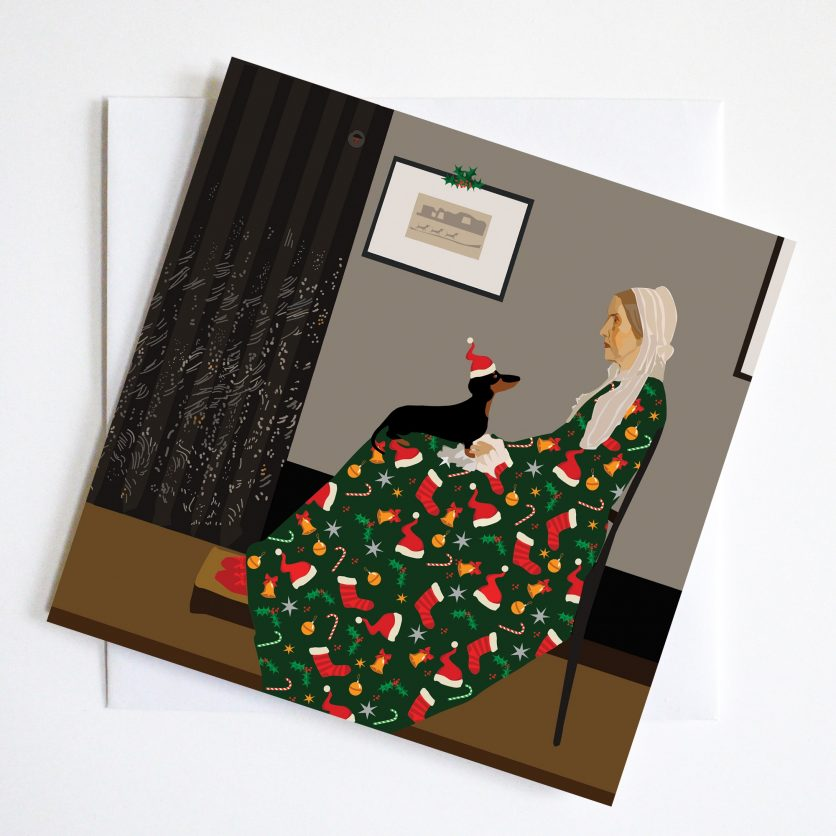 Whistlers Mothers Christmas Card with a small dachshund on her knee