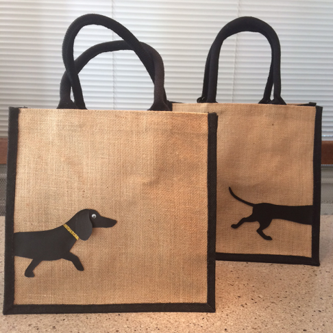 Dachshund jute bag with dachshund detail on either side