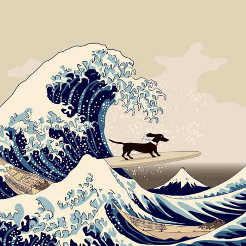 Hokusai's famous Wave with a little dachshund surfing