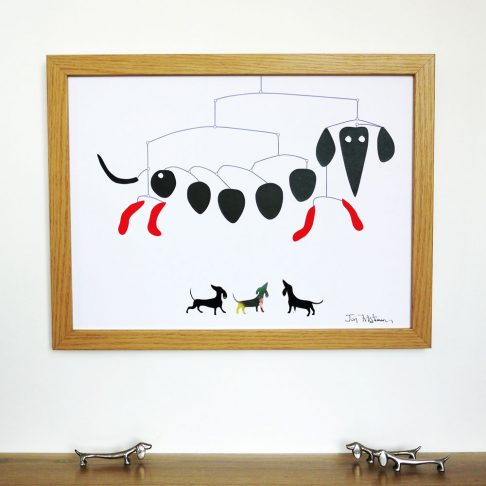 Dachshund Mobile Print in true homage to Alexander Calder