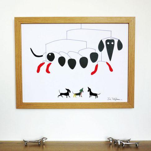 Dachshund Mobile Print in true homage to Alexander Calder