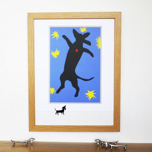 Henry is the Matisse Dachshund as we parody the iconic image of Icarus as a falling dachshund