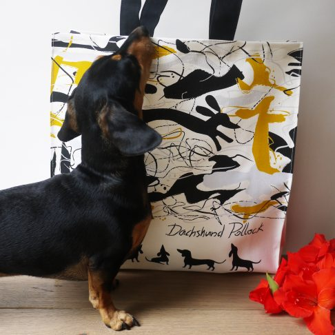 Dachshund with Dachshund Pollock Tote Bag