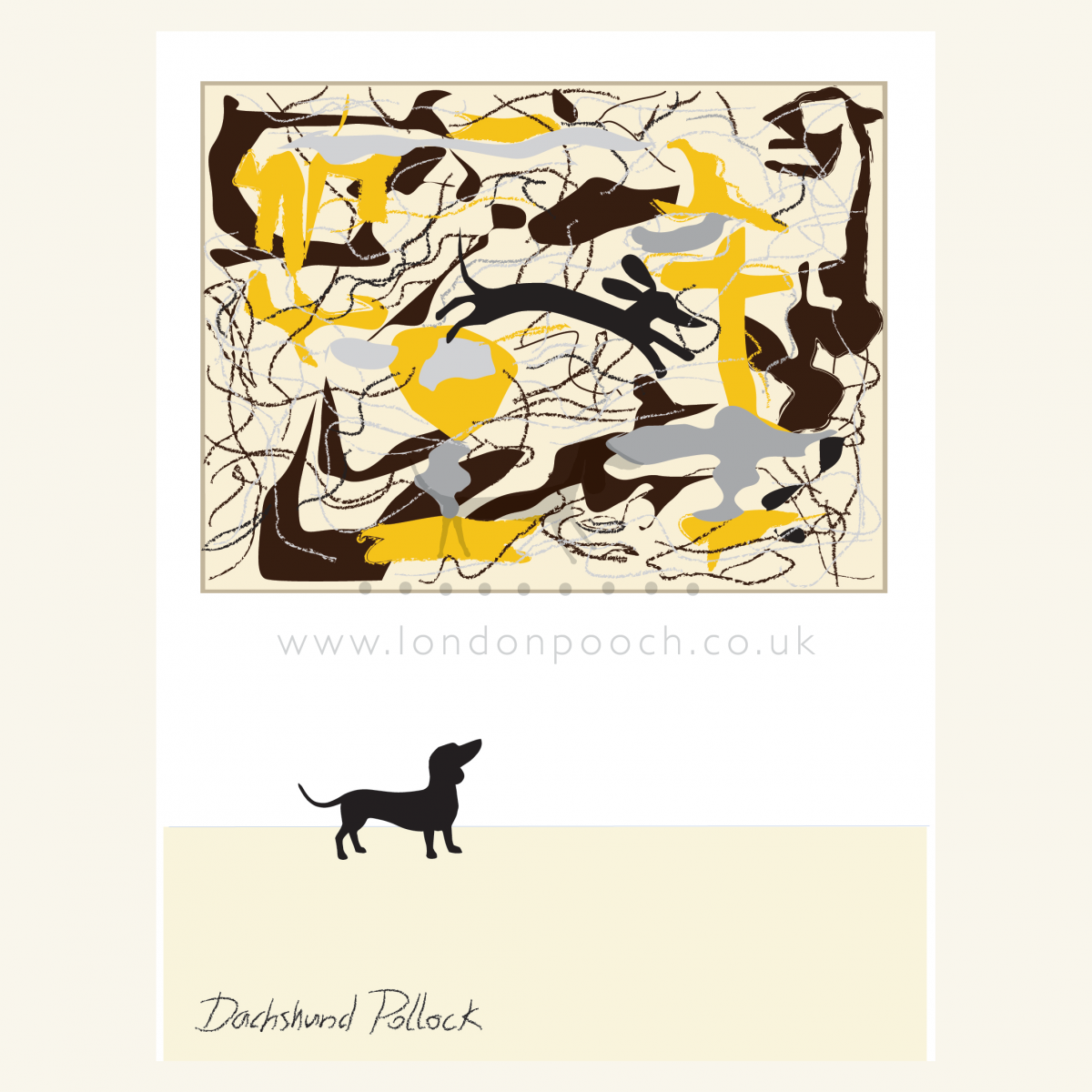 Dachshund Pollock Print shows a small dachshund gazing into abstract art. A true homage to Jackson Pollock as a small dog skip around the picture.