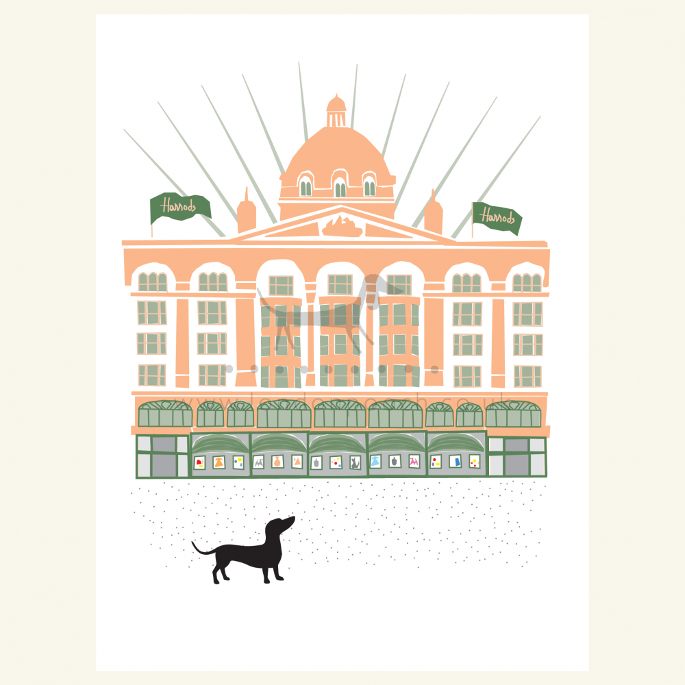 The Harrods Dachshund out side his favourite London shop