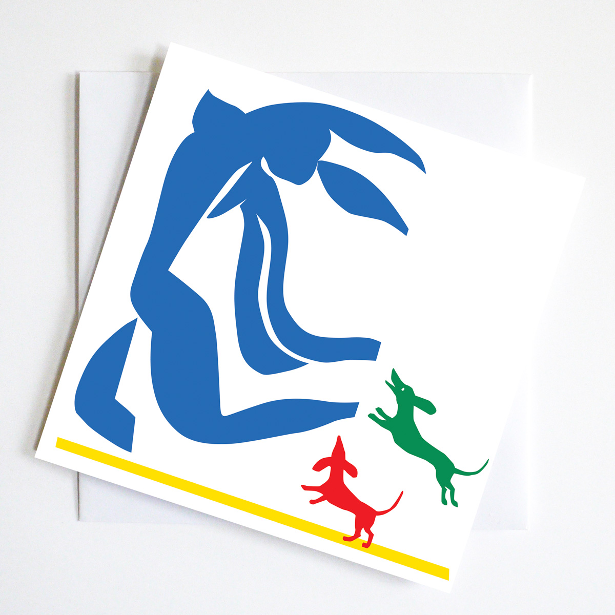 Gift Card showing two dachshunds literally After Matisse or rather chasing his blue nude