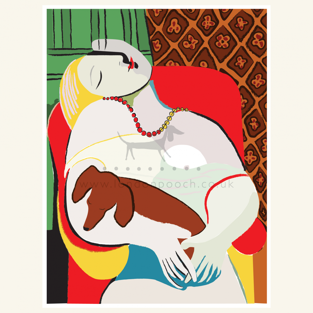 Picasso Portrait with a small sausage dog on her knee. Humorous Dachshund Art