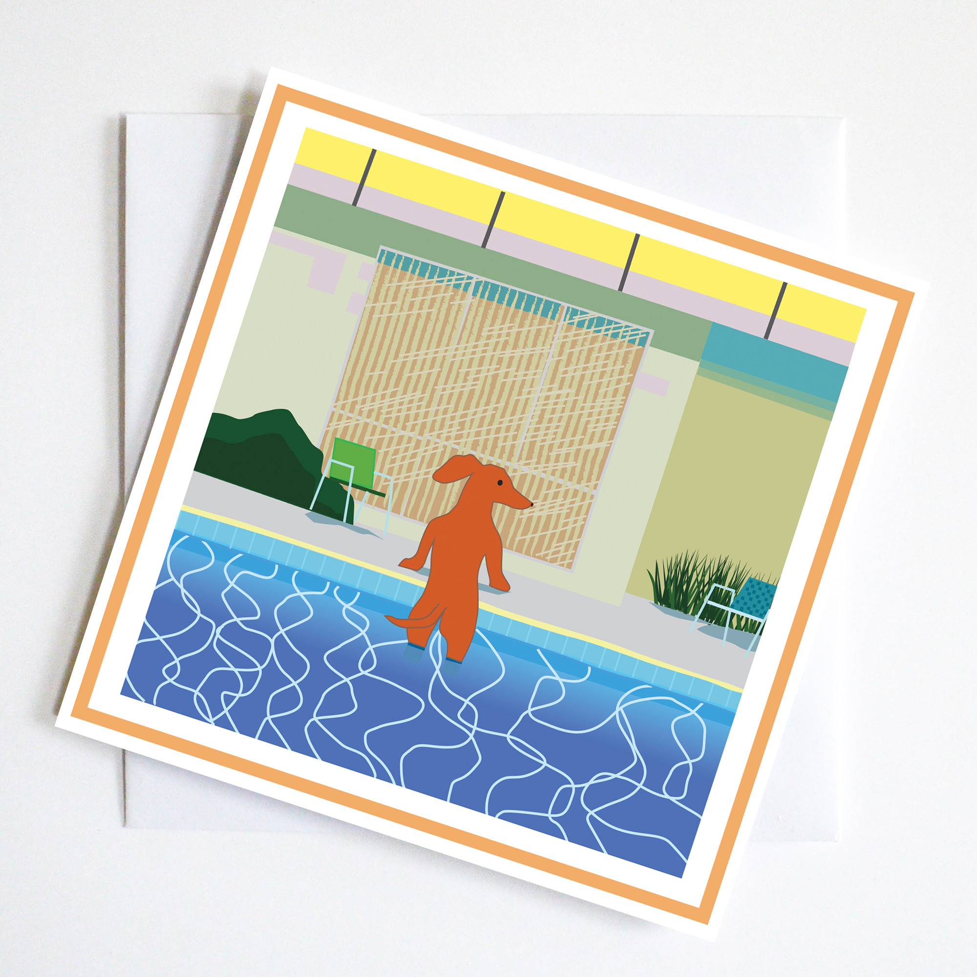 This card pays homage to Hockney's swimming pool painting with a dachshund emerging from his friends swimming pool.