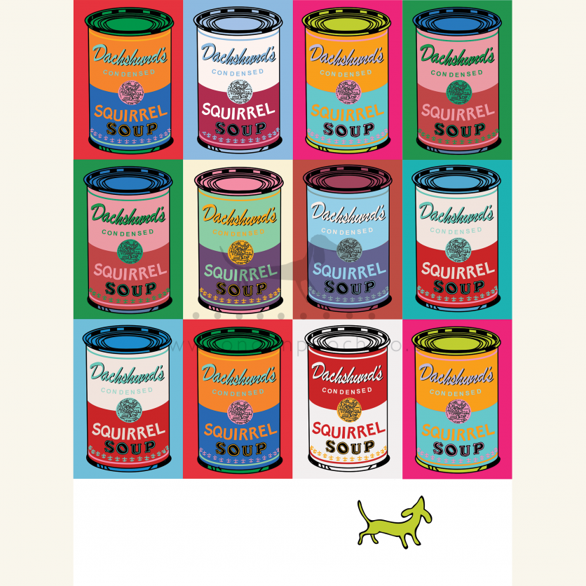 Dachshund Squirrel Soup Print is another parody of Andy Warhols iconic Campbell Soup prints
