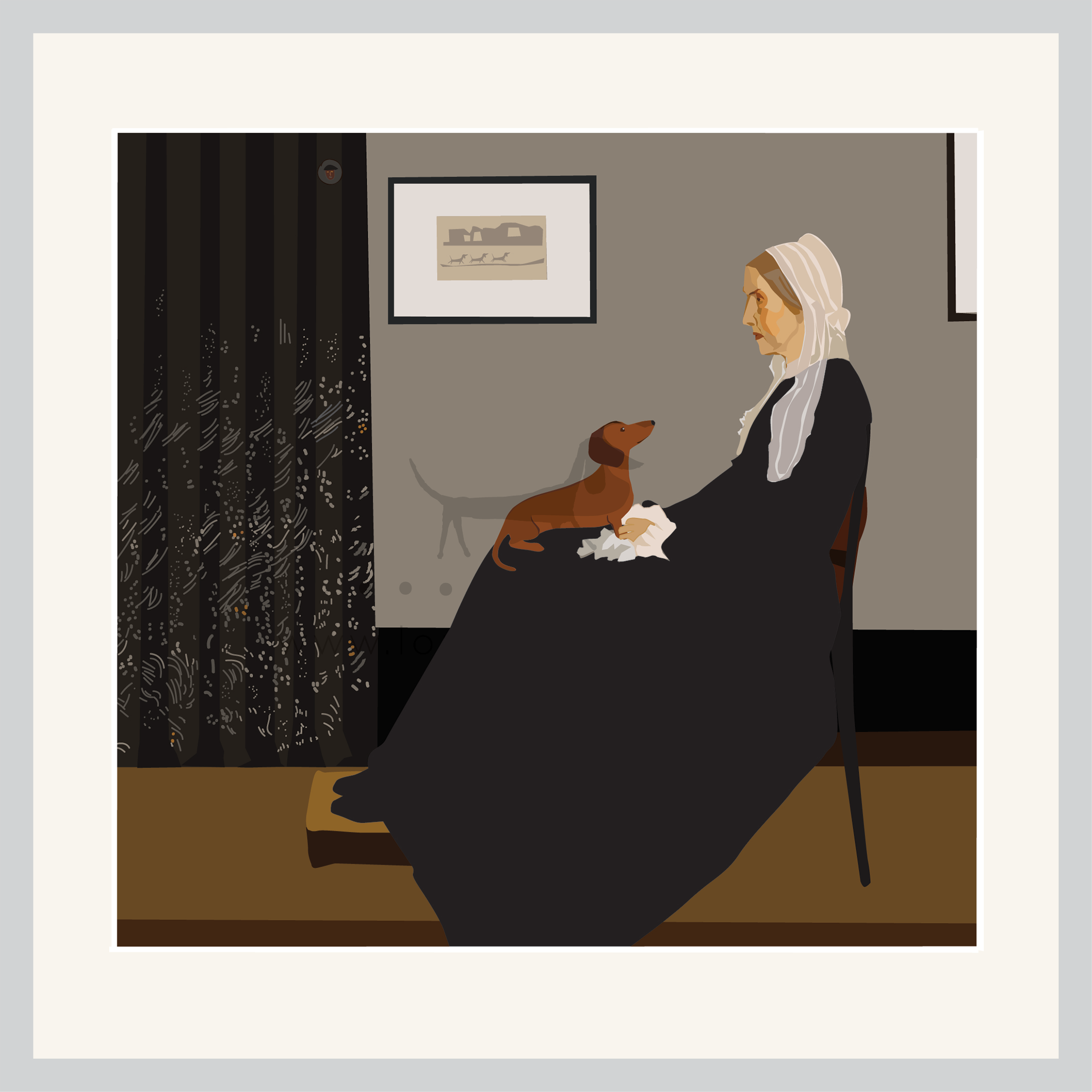 Whistlers Dachshund sits on Mothers knee in this parody on an iconic painting.