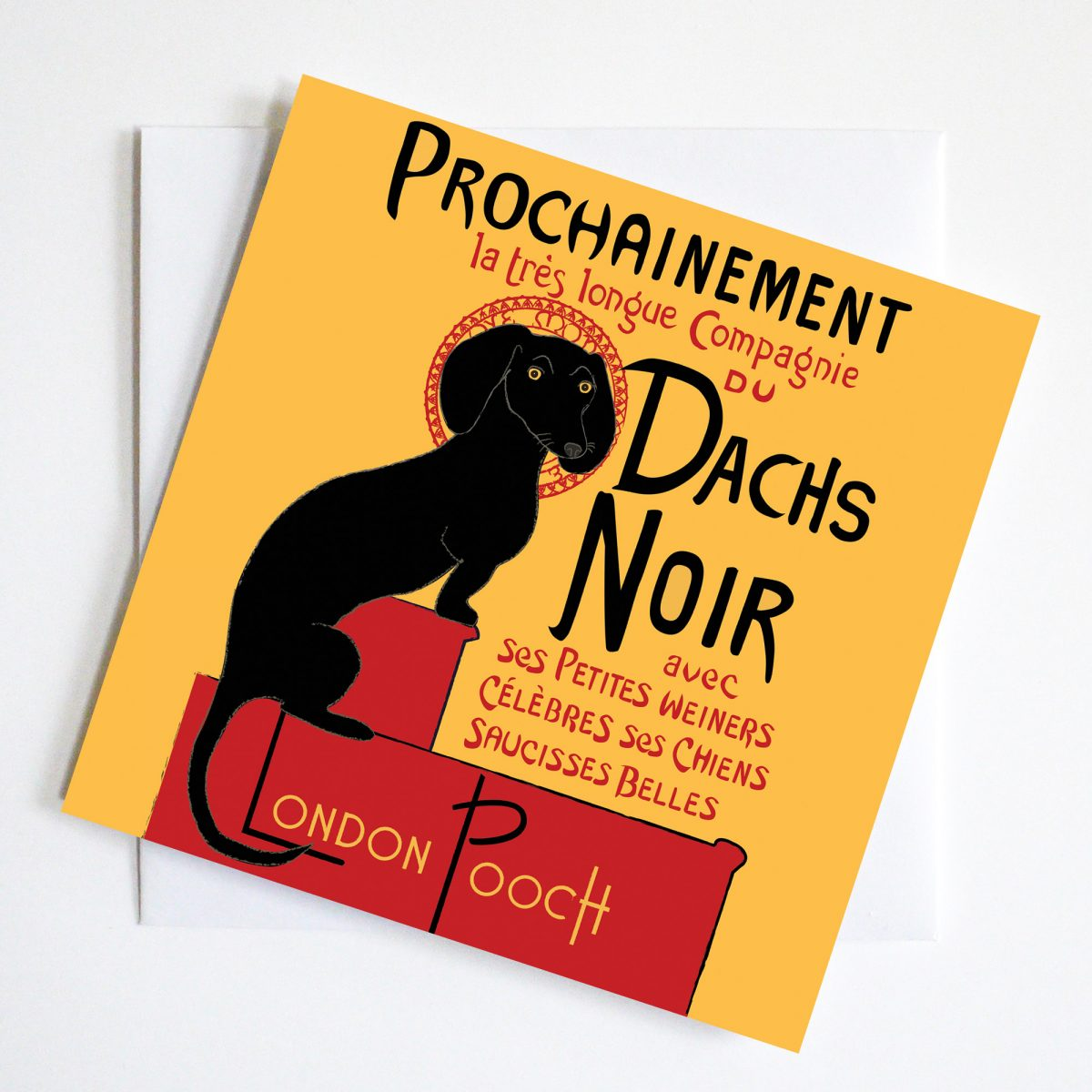 Iconic Poster image Chat Noir seen through the eyes of a dachshund as Dachs Noir.