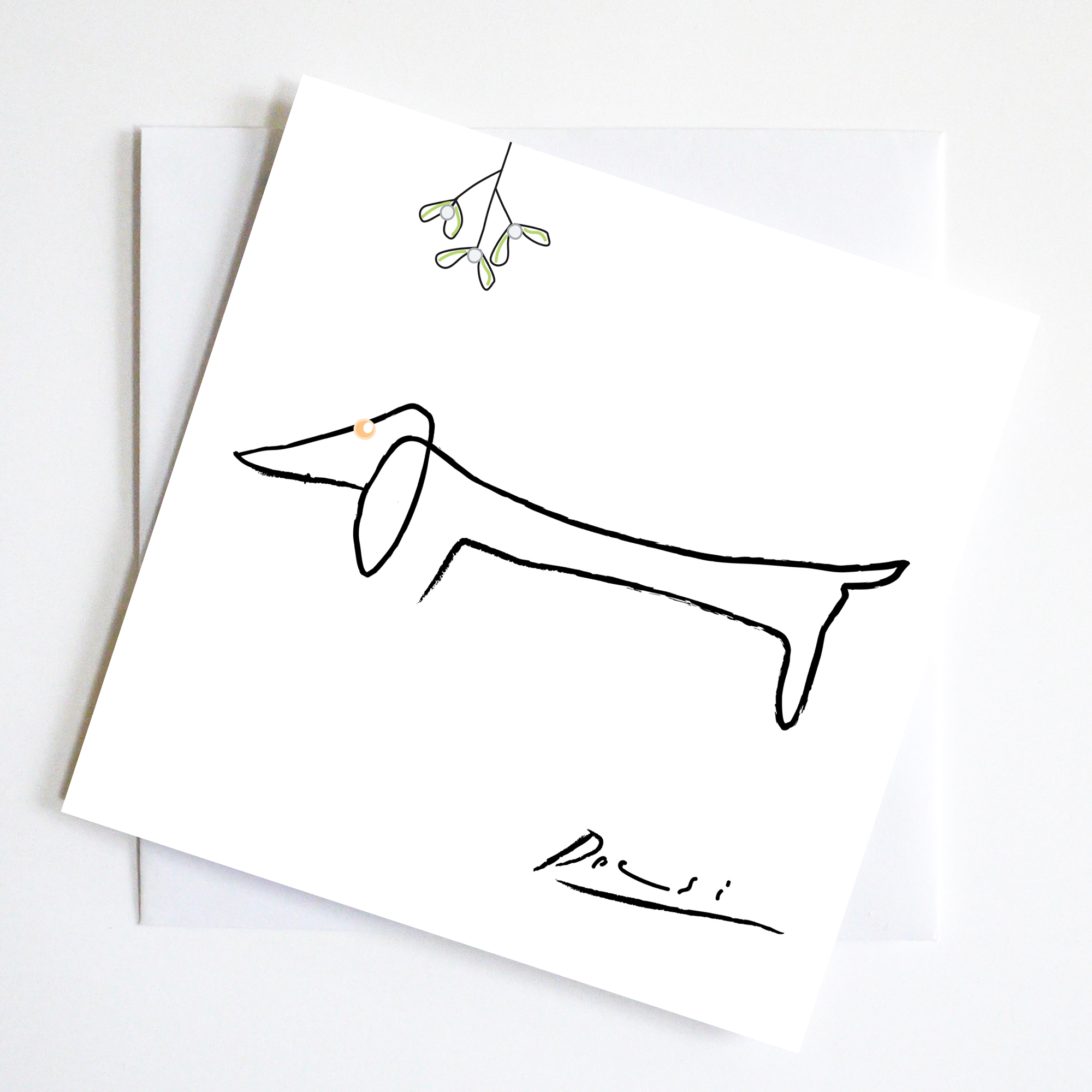 Pablo Picasso's line drawing of his dachshund. With a bit of mistletoe becomes a Christmas Greeting.