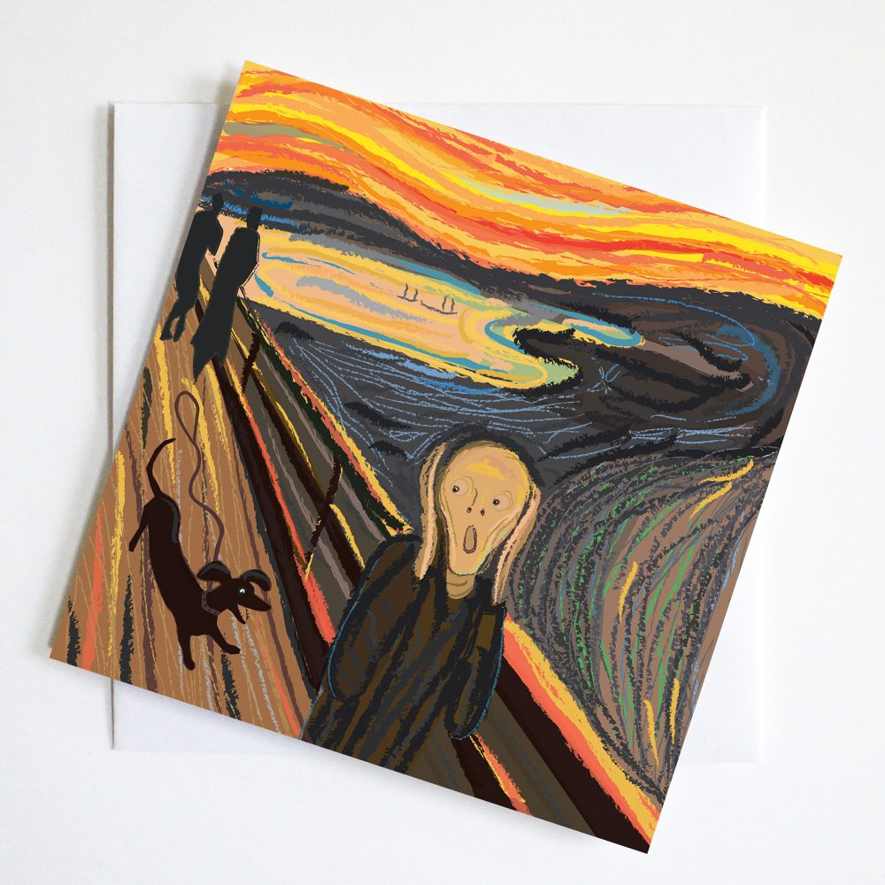 Edvard Munch Scream seen through the eyes of a Dachshund. Dachsmunch Scream.