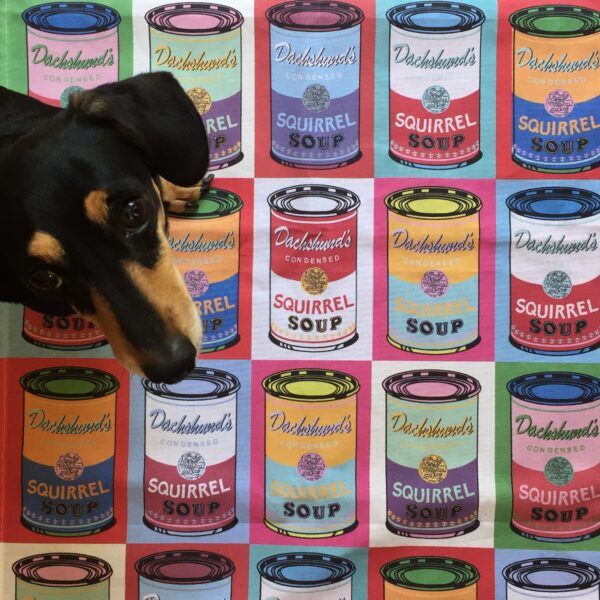 Dachsund Art Warhol parodytea towel